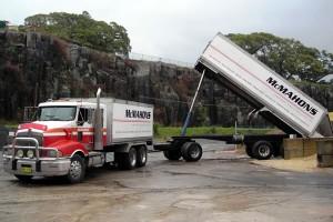 McMahon's Transport Truck Unloading Mulch